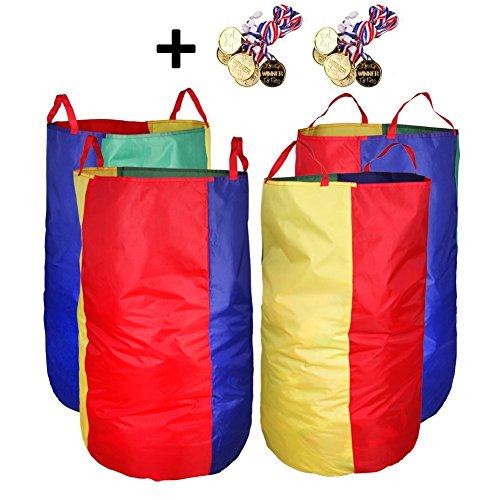DGQ Potato Sack Race Bags 27.5''x35.5'' (Pack of 4) with Game Prizes (Pack of 12) for Students or Adult by DGQ