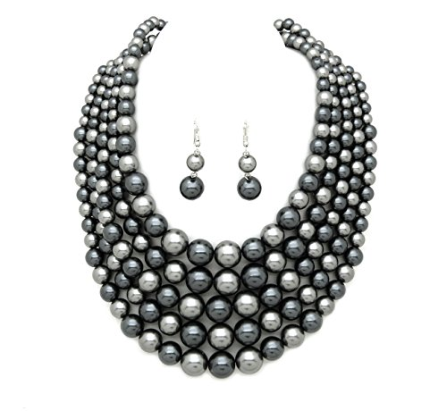 Women's Simulated Faux Pearl Five Multi-Strand Statement Necklace and Earrings Set (Grey (Grey Faux Pearl Necklace)