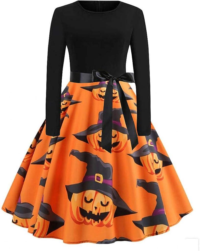 ZEFOTIM Halloween Dresses 2019, Women Vintage Long Sleeve Halloween 50s Housewife Evening Party Prom Dress