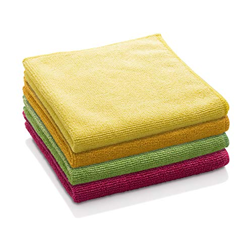 E-Cloth General Purpose Cloth - Durable Premium Microfiber for Chemical-Free Cleaning - Just Add Water - Includes 1 Each of Blue, Yellow, Green, Red - 4 Pack ()