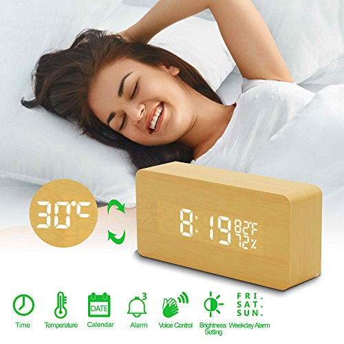 Alfheim digital alarm clock wooden LED light,desk clock with 3 brightness adjustable,dual power,3set of alarm, voice control,wood cube (Yellow) by Alfheim