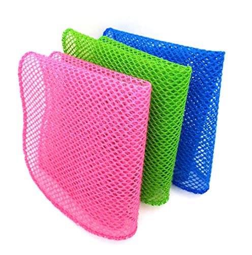 - OliviaTree premium kitchen dish towel 3colors(pink,green, blue),dish cloth,dish scrubber,mesh wash net