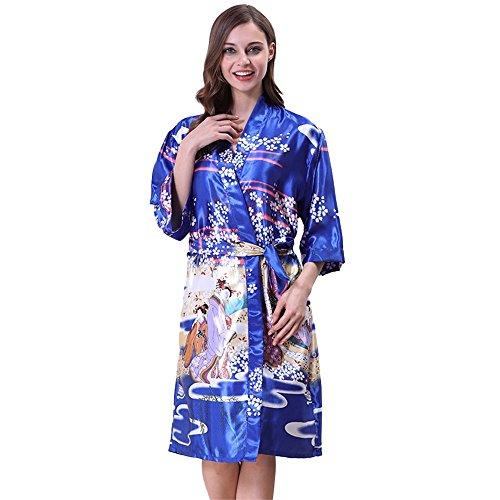 Medium rilassante estate pigiama camicia Blue Blue elegante maniche stampato large BOBOJW notte da accappatoio vestaglie YFq1wF