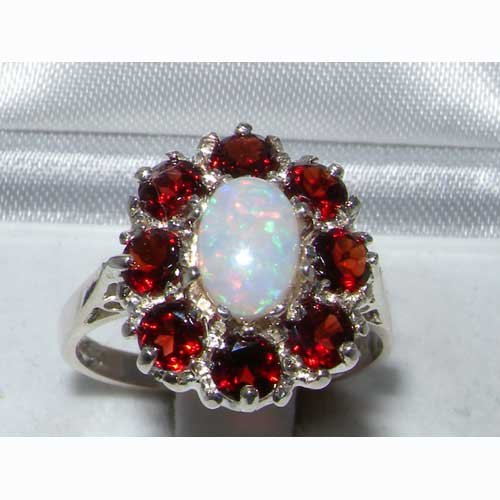 925 Sterling Silver Natural Opal and Garnet Womens Cluster Ring - Sizes 4 to 12 Available