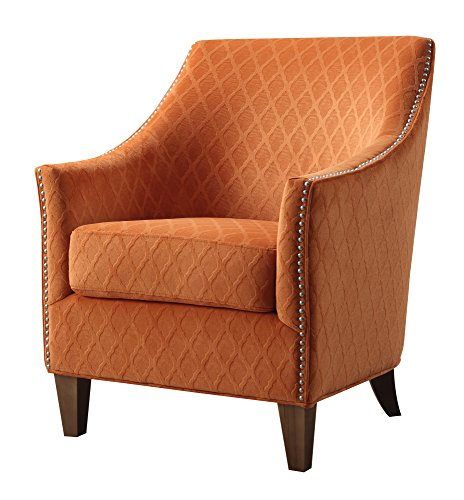(Emerald Home Kismet Wembley Orangeaid Accent Chair with Diamond Pattern Fabric And Nailhead Trim)