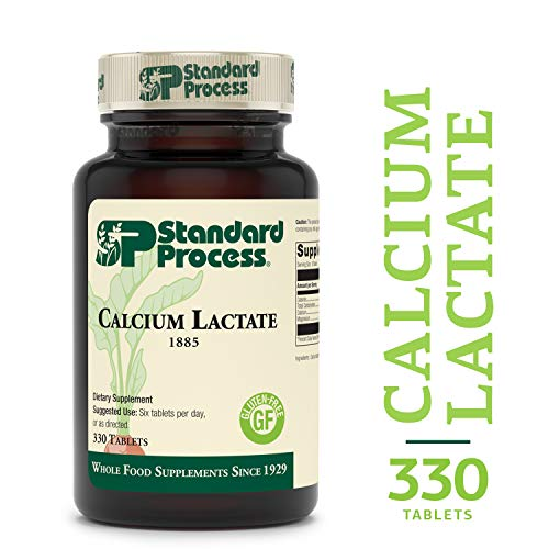 Standard Process - Calcium Lactate - Non-Dairy Calcium Supplement, 250 mg Calcium, 50 mg Magnesium, Supports Healthy Bones and Teeth, Gluten Free and Vegetarian - 330 Tablets