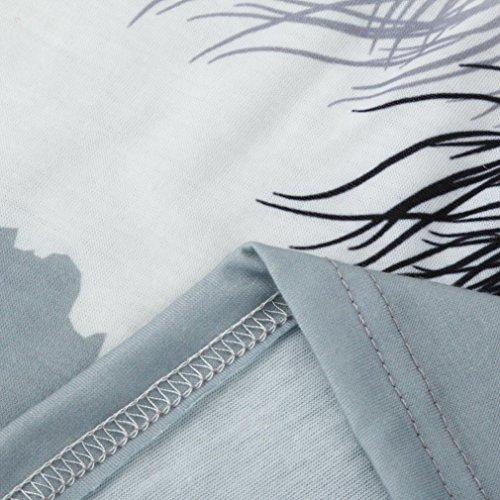 FNKDOR Mujer de manga corta O Cuello Pluma Impresión Camiseta suelta suelta camiseta suelta Azul