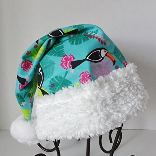 Tropical Santa Hat, Turquoise Flannel Island Style Novelty Santa - Santa Island Fashion