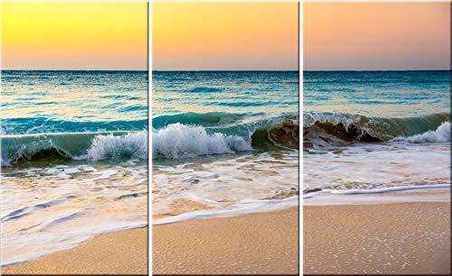 Amazon Com White Sand Beach Sunset 3 Piece Canvas Wall Art Tropical Ocean Photography Triptych Print Handmade