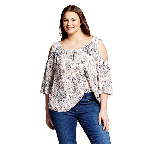 (Cliche Women's Plus Size Paisley Print Top With Keyhole (3X))