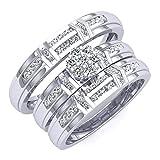 0.50 Carat (ctw) 10K Gold Round White Diamond Men And Women's Cluster Engagement Trio Bridal Set 1/2 CT