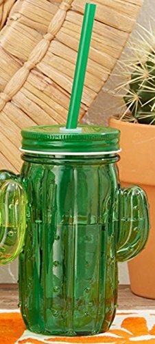 Two's Company Cactus Shape Glass Mason Jars Set of 4 (Dark Green)