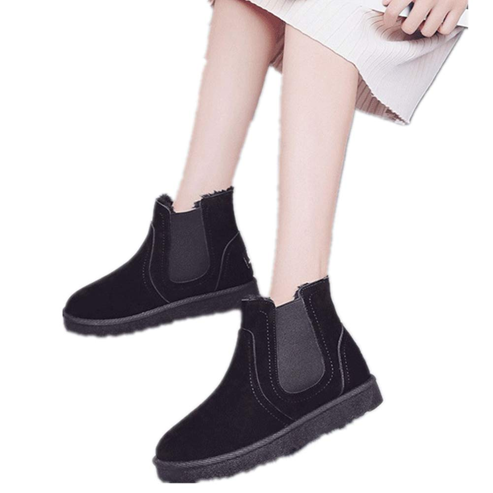 Smile-YZ /New Winter Fashion Warm Ankle Pull-on Snow Boots for Women Black, US 5.5