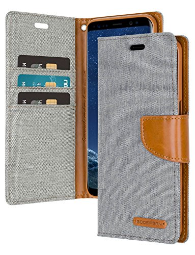 Gry Leather - Galaxy S8 Wallet Case with Free 4 Gifts [Shockproof] GOOSPERY Canvas Diary Ver.Magnetic [Denim Material] Card Holder with Kickstand Flip Cover for Samsung GalaxyS8 - Gray, S8-CAN/GF-Gry