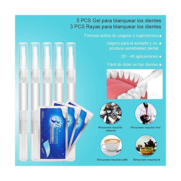 Kit de Blanqueamiento Dental Gel 5PCS ifanze Blanqueamiento de Dientes Luz*1, Blanqueador Dientes Tiras*3, Blanqueador… 5
