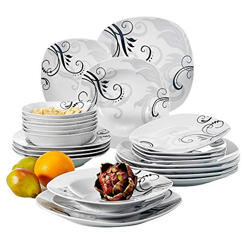 (VEWEET 24-Piece Ceramic Dinnerware Set Decal Patterns Pottery Plate Sets with Dinner Plate, Soup Plate, Dessert Plate, Bowl, Service for 6 (Zoey Series))