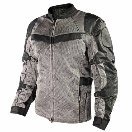 Leather Jacket Mesh Tex (Xelement XS8162 All Season Mens Black/Grey Tri-Tex/Mesh Jacket - Large)