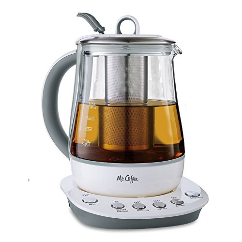 Mr. Coffee Hot Tea Maker and Kettle, White Dishwasher Safe Coffee Maker