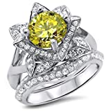 Smjewels 2.00 Ct Yellow Round Sim.Diamond Lotus Flower Engagement Ring Set 14K White Gold Fn