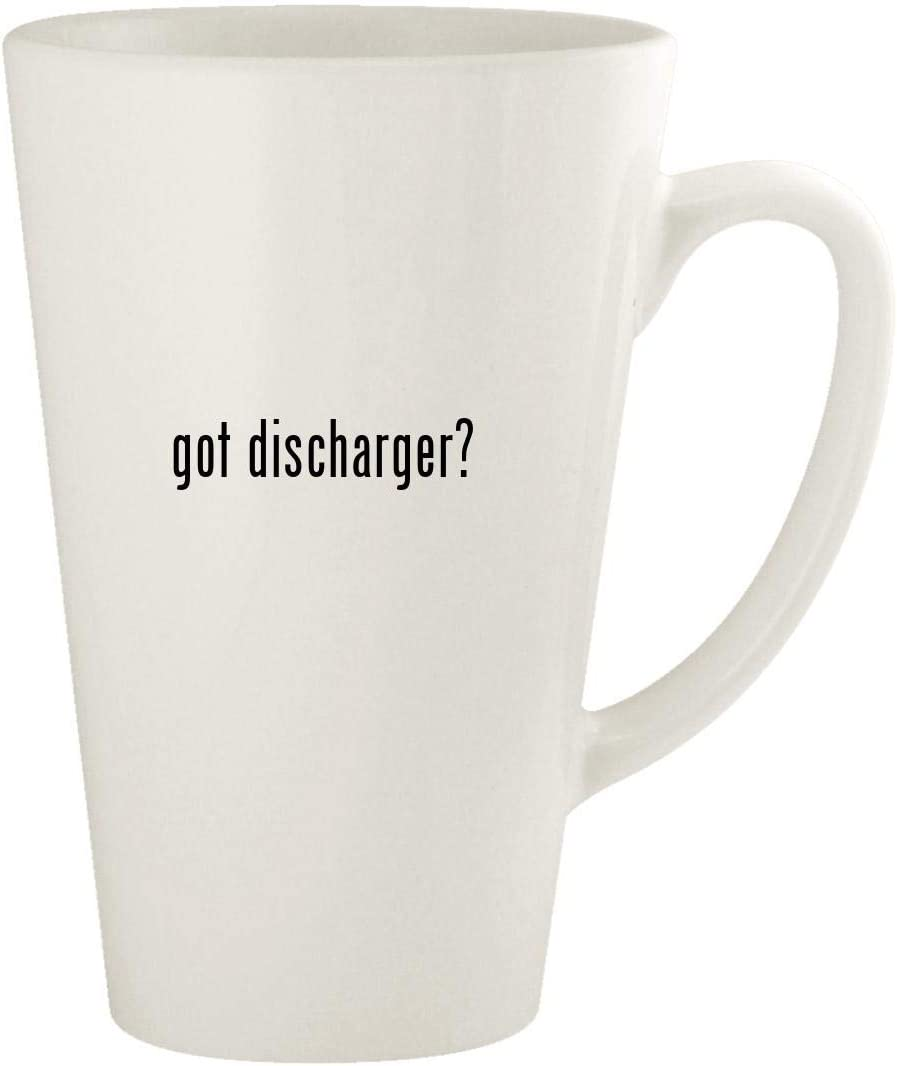 got discharger? - 17oz Ceramic Latte Coffee Mug Cup, White
