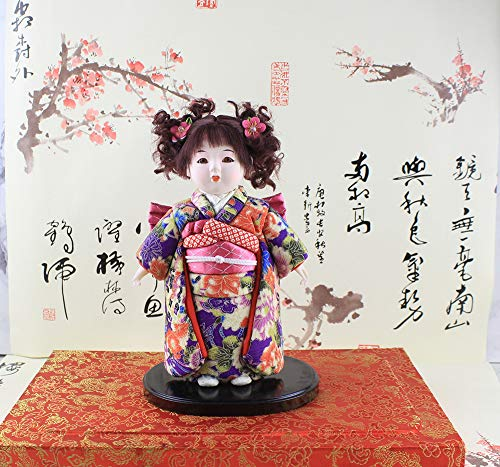 Heartrace 24cm Handmade Cute Girl Asian Doll Japanese Figurine Statue Hinamatsuri gofun Art Asian Ichimatsu Collectibles High Appreciation Collection Value