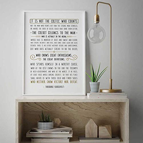 Cazvas Man in The Arena, Theodore Roosevelt Quote Famous Quote Poster, Minimalistic Saying Wall Art, Rustic Print Gift, Typography Sign #262 Frame