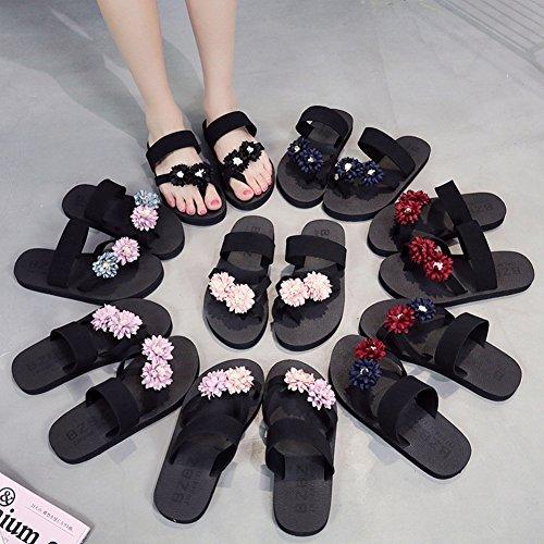 Btrada Mujeres Clip Fashion Sandalias De Dedo Del Pie Verano Antideslizante Beach Flip-flops Flats Pink