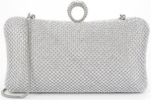 Dexmay Ring Rhinestone Crystal Clutch Purse Luxury Women Evening Bag for Bridal Wedding Party Silver