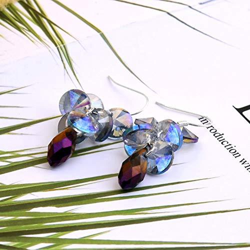 GEDASHU Earrings Multilayer Water Drops Bride Jewelry Women Wedding Earrings Colourful Crystal Charm Grape Tassel Dangle Earrings
