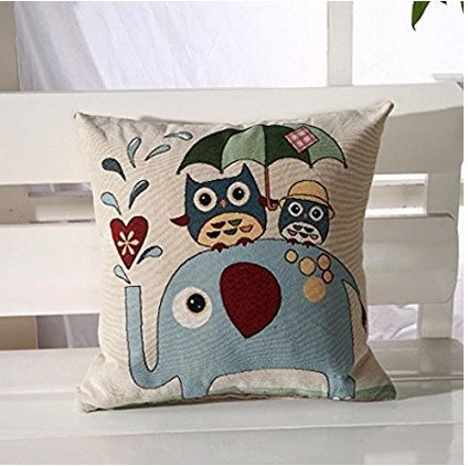 F and Z Farbe Niedlichen Cartoon Owl Kissenbezug Baumwolle Leinen Platz Dekokissen Fall Size 45 * 45cm (1#)