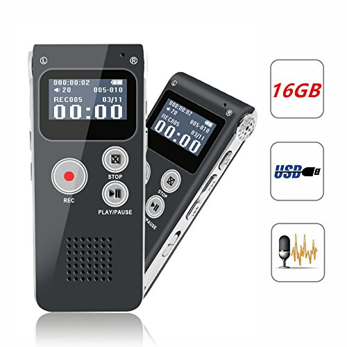 Digital Voice Recorder, Portable Recorder, Multifunctional Rechargeable Dictaphone, FlatLED Audio Voice Recorder Dictaphone, MP3 Music Player with Mini USB Port and Color LCD display, 16GB (Grey)