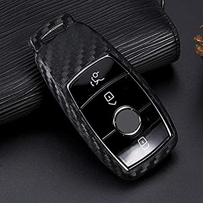 Royalfox(TM) Soft Silicone Carbon Fiber Style Smart keyless Remote Key Fob case Cover for Mercedes-Benz E-Class S-Class W213 2016 2020 2020 2020 Keychain (Benz New Key)