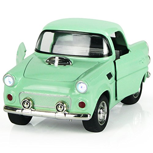 Toy Diecast Car Play Vehicles, Pull Back Action with Lights and Sounds 1:38 - iPlay, iLearn (Green)