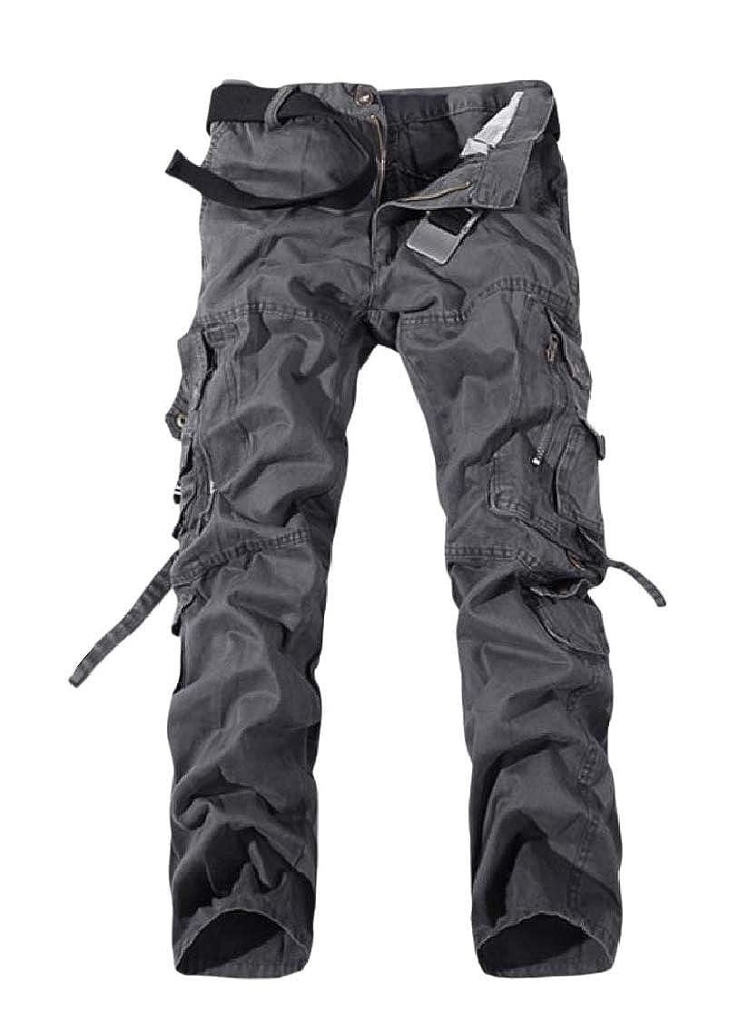 Fseason-Men Straight Big and Tall Multi-Pockets Outdoor Combat Karate Pants