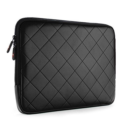 SumacLife Diamond Quilted PU Leather Sleeve for Lenovo N20p Chromebook 11.6-inch Laptops (Black)