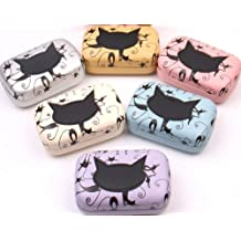 AwesomeMall Lovely Cat Pattern Leather Contact Lens Case Travel Kit Set Color in Random