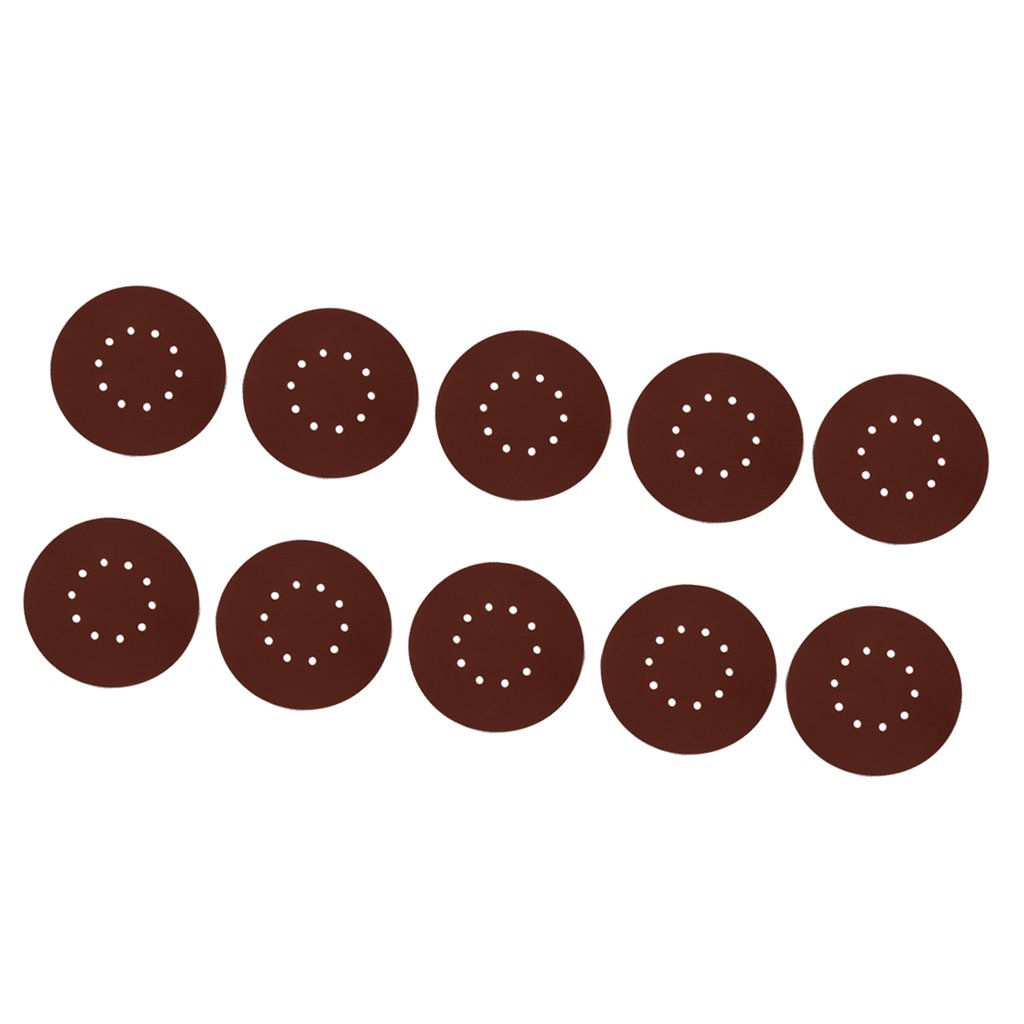 MagiDeal 10Pieces Flocking Sandpaper Sand Paper Sheet Disc Wheel Wood Working Polish - 80#
