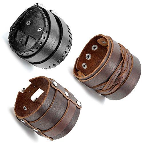 Aroncent Bracelet Leather Braided Wristband
