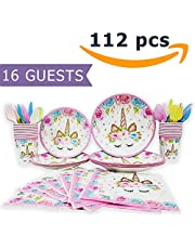 Unicorn Plates Cups Napkins for Birthday Party, 16 guests