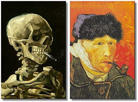Self Portrait with Bandaged Ear Skull of a Skeleton with Burning Cigarette by Vincent Van Gogh Oil Painting Reproduction in Set of Panels
