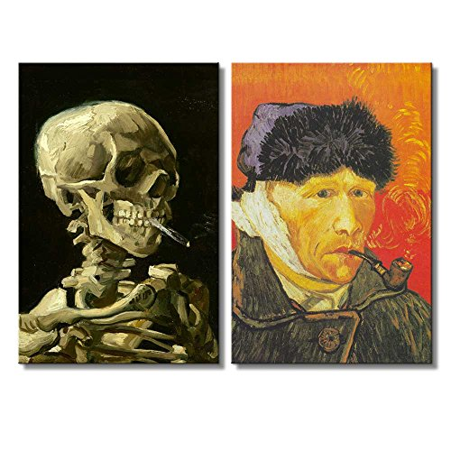 Self Portrait with Bandaged Ear Skull of a Skeleton with Burning Cigarette by Vincent Van Gogh Oil Painting Reproduction in Set of 2 x 2 Panels