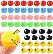 JTTJDB 50Pcs Mini Multicolor Rubber Ducks Baby Bath Ducky Bathtub Pool Squeaky Little Duck Toys for Shower/Bir