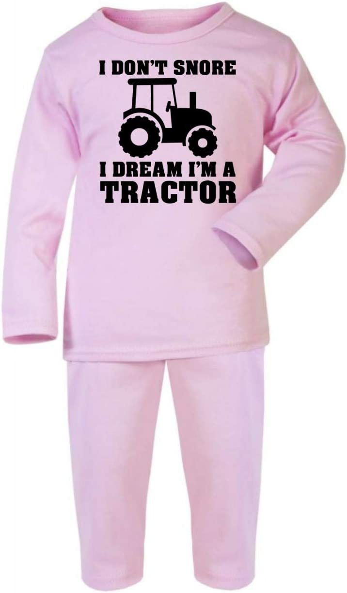 Grey I Dont Snore I Dream Im a Tractor Cotton Baby PJ Pajama Set Long Sleeve 1-2 Years