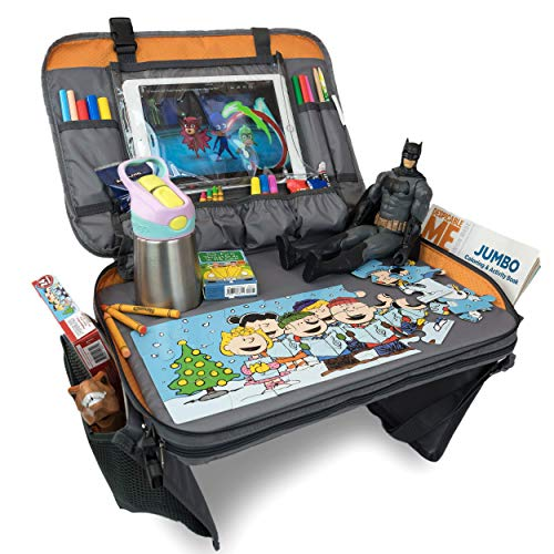 Car Seat Tray - Kids Travel Tray with Sturdy Base for Play & Activity, Tablet Holder and Large Pockets for Storage