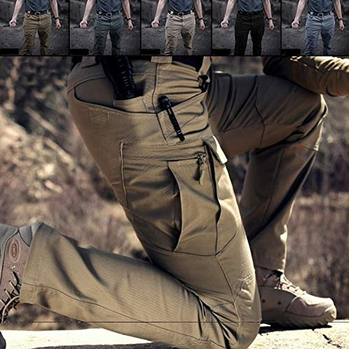 Chen Tactical Military Sweatpants Male's Outdoor Sports Trekking Pants Trousers Fighting Multi-Pocket Pants(Green,XL)