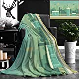 Nalagoo Unique Custom Flannel Blankets Seamless Layered Parallax Ready Runner Shooter Game Cityline Background Scene Urban Environment Super Soft Blanketry for Bed Couch, Twin Size 80'' x 60''