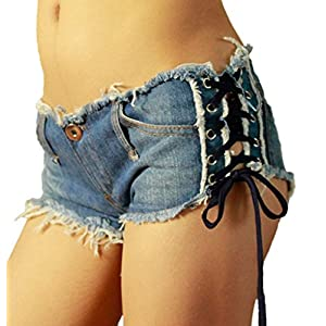 VIGVOG Women Low Waist Rivet Denim Short Aysm Hem Hot Night Pant
