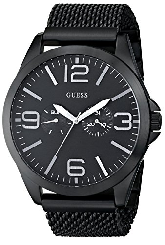 GUESS Men s U0180G2 Modern Sleek Black Ionic-Plated Watch with Black-Mesh Bracelet