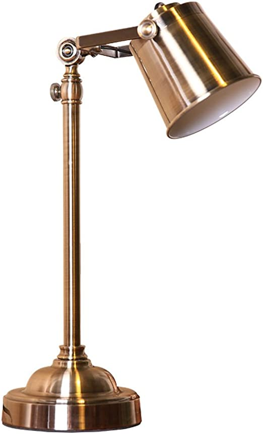 Lampe de Table Américaine Antique Cuivre Chambre Lit Fer