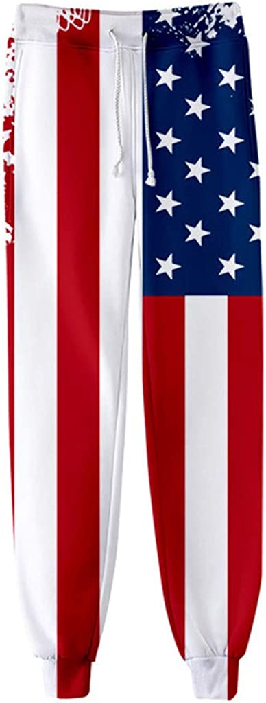 Women USA American Flag Pant Patriotic Print Jogger Sport Trouser Baggy Sweatpant with Drawstring